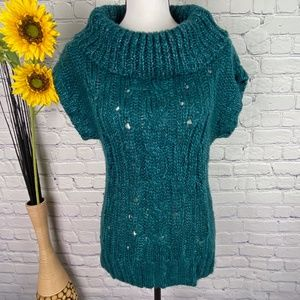 Mudd Teal Color Cowl Neck Knit Sweater Top